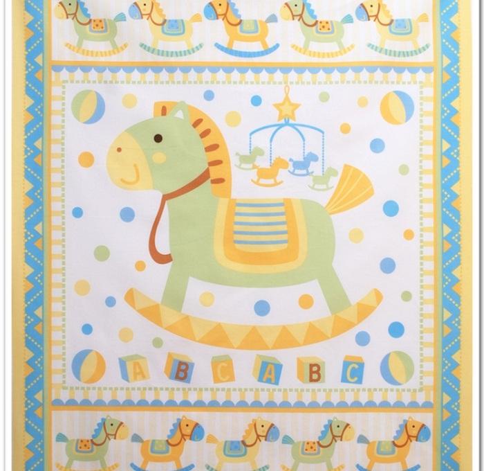 Tela caballo de madera manta para beb algod n how - Telas para cunas de bebe ...