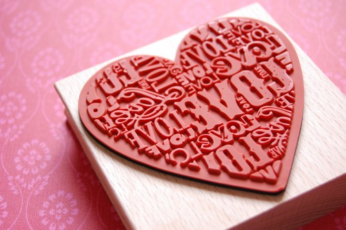 Big rubber stamp heart love