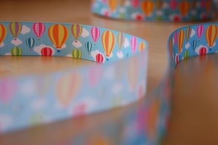 Decorative ribbon hot air ballon blue sky