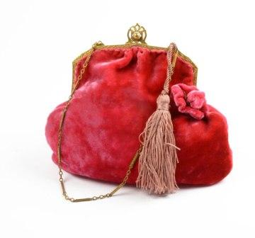 Bolso de mano antiguo rojo