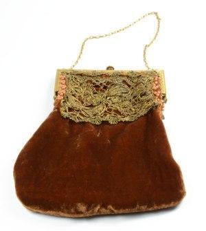 bolso de mano vintage terciopelo