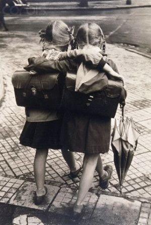 niñas escuela vintage