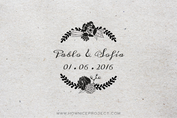 sello personalizado boda corona flores cuño