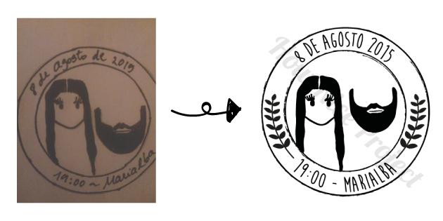 sello personalizado retrato novios