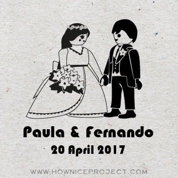 sello boda juguete novios figuras