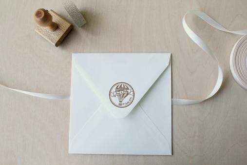 sello personalizado boda globo viaje vintage