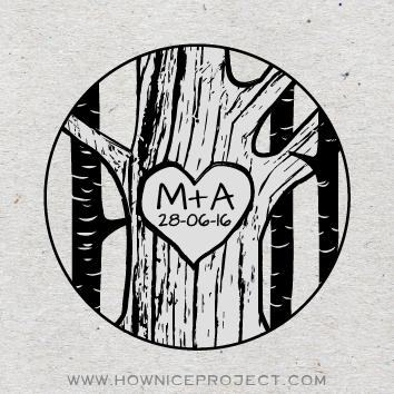 sello personalizado boda iniciales talladas árbol corteza