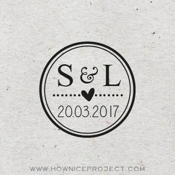 sello personalizado boda 3 x 3 cm