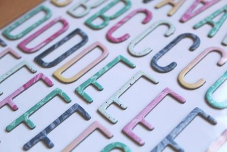 pegatinas letras de carton colores pasteles
