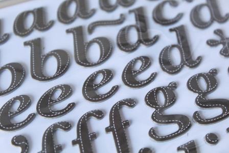 scrapbooking adhesivos letras cuero