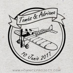 sello para boda avion vintage