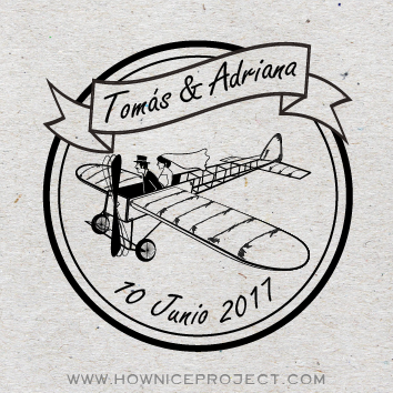 sello para boda avion vintage