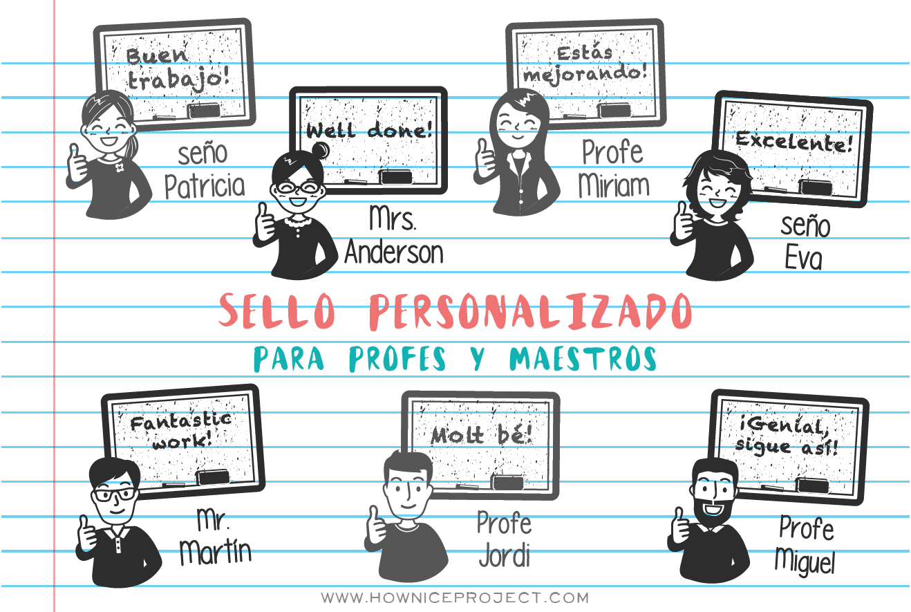 sellos personalizados para maestros y profes