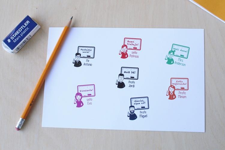 sellos personalizados para profesores y seños
