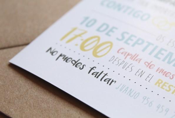invitaciones boda diseño juego de tipografias