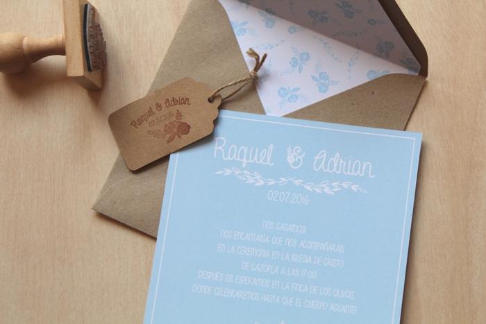 conjunto de invitaciones y sello personalizado