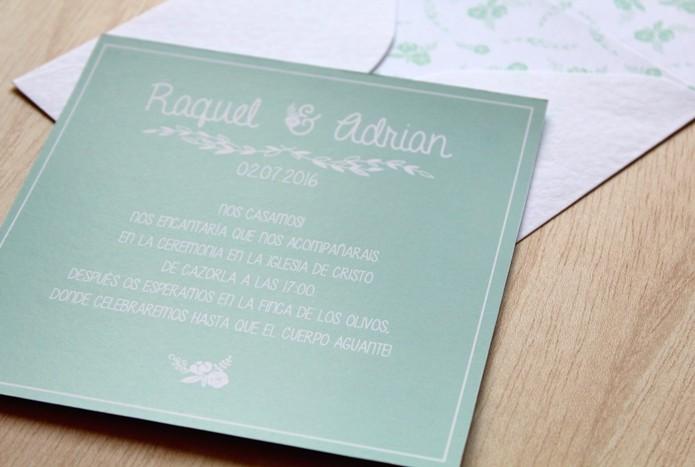 invitaciones de boda campestre verde menta