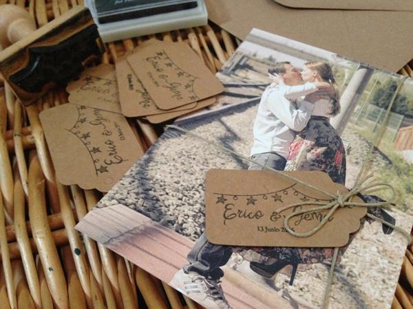 invitaciones de boda rustica DIY con sello personalizado