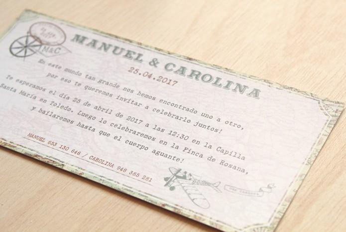 invitaciones de boda viaje y avion antiguo