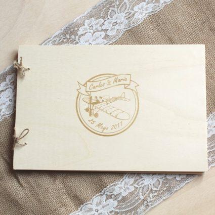 libro de firmas de madera personalizado