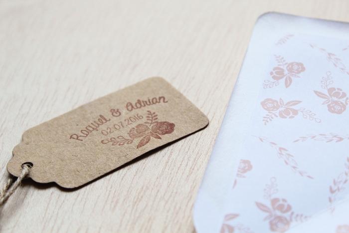 sello personalizado boda flores