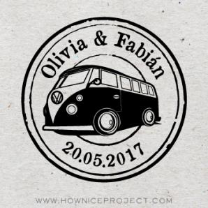 sello personalizado boda caravana vintage