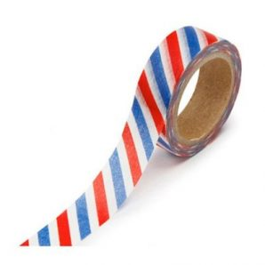 washi tape rayas azules y rojas