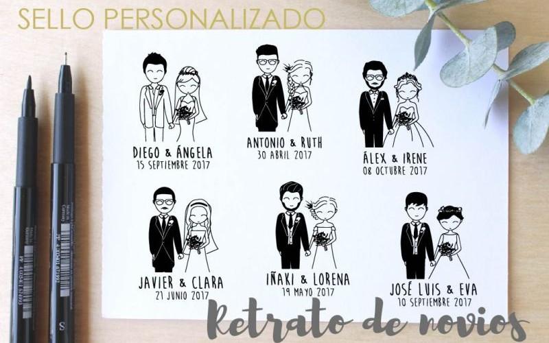 sello para boda pareja de novios
