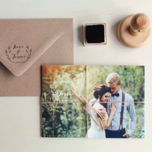 invitaciones de boda con cordel y sello
