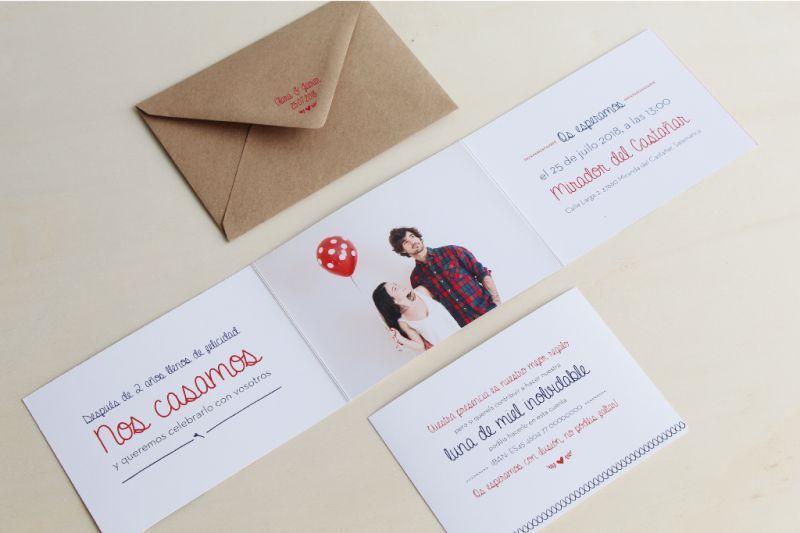 invitaciones boda triptico con fotos de novios