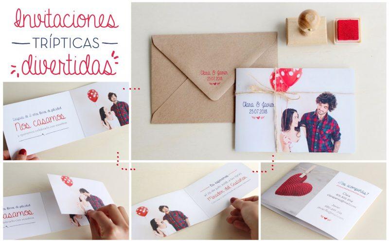 Invitaciones de boda con foto de novios