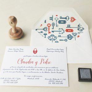 invitaciones de boda llaves y cerraduras