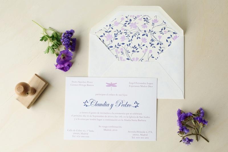 invitaciones de boda floral con libelula