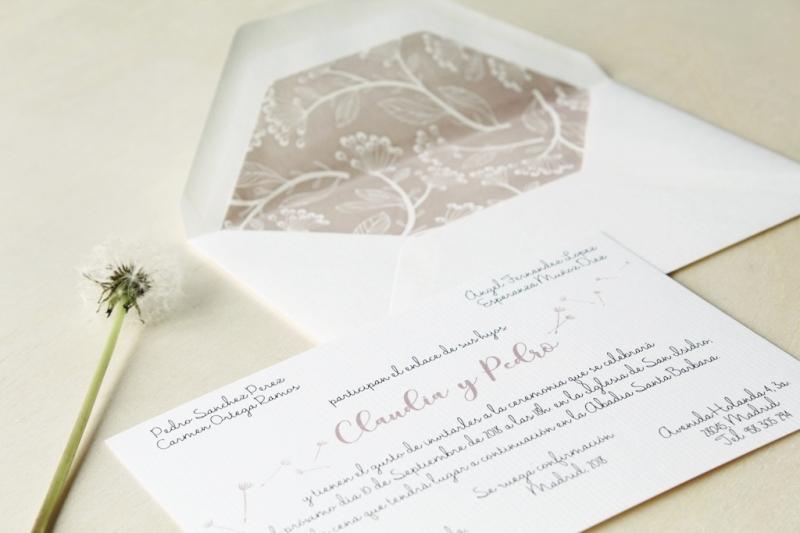 invitacion de boda con sobre forrado