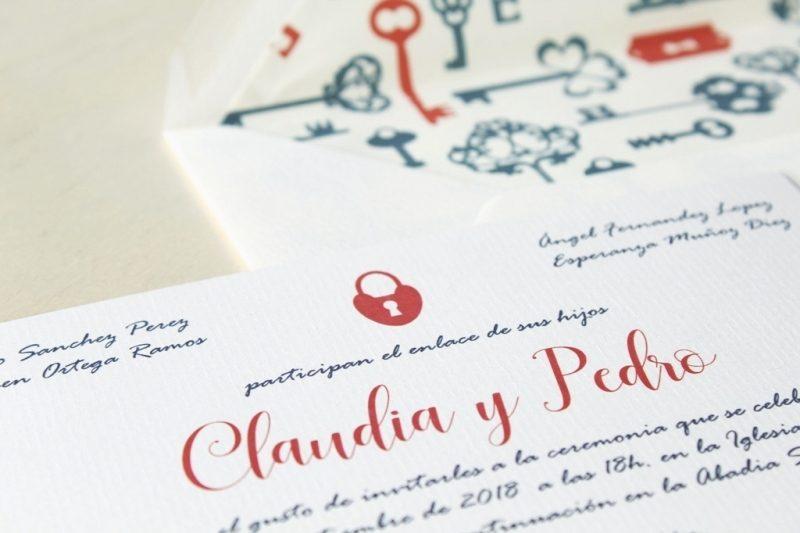 invitaciones con sobres forrados vintage