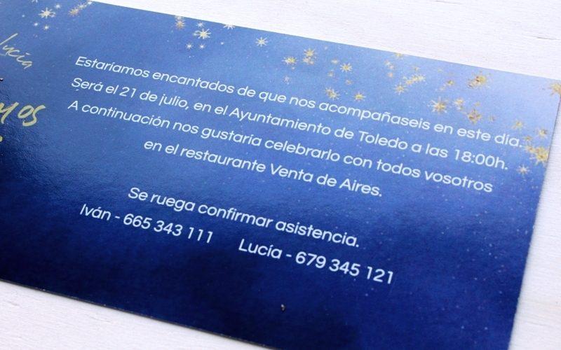 invitación boda noche azul y estrella