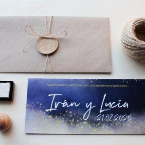 invitación de boda noche estrellada