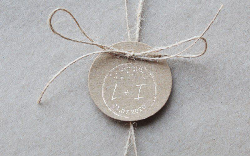 sello para boda noche estrellada con iniciales