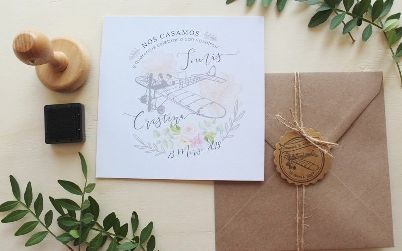set de invitaciones viaje y flores en acuarela