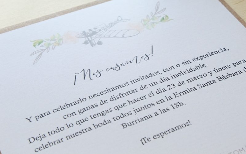 invitación de boda elegante viaje