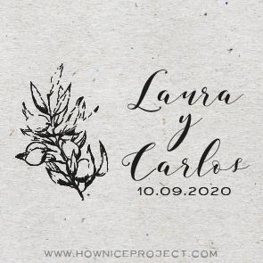 sello personalizado para boda olivo