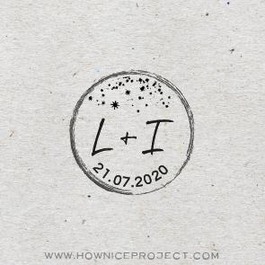sello personalizado para boda iniciales y estrellas