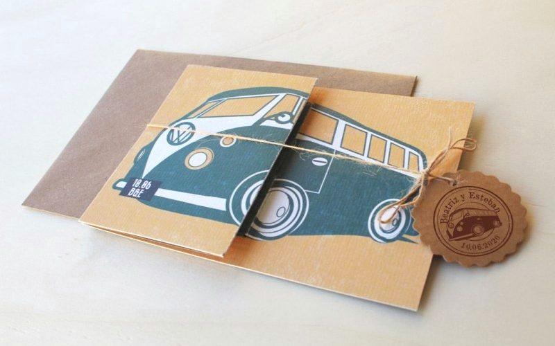invitaciones caravana vintage