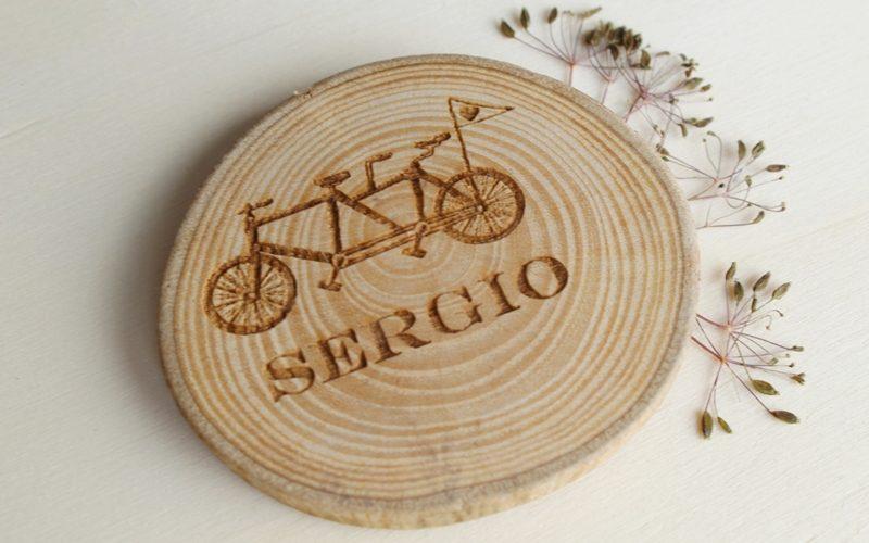 iman personalizado de madera para boda tandem