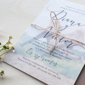 invitación de boda con papel vegetal