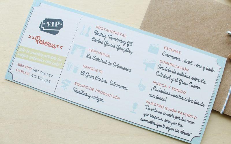 invitaciones de boda entrada de pelicula
