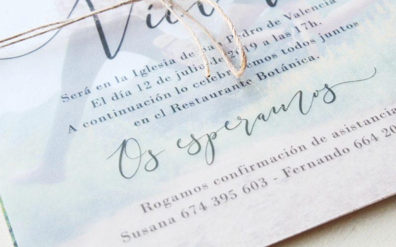 invitaciones de boda con tipografía lettering
