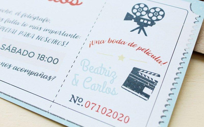 invitaciones de boda con forma entrada cine