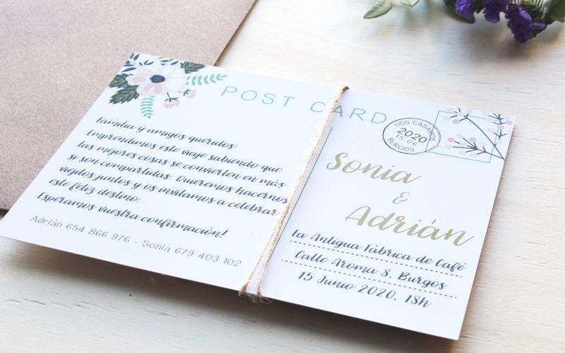 invitaciones postales para boda
