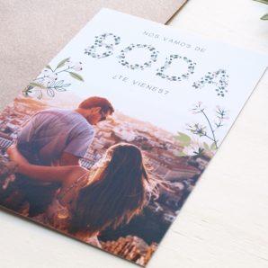 invitaciones postales con foto de novios
